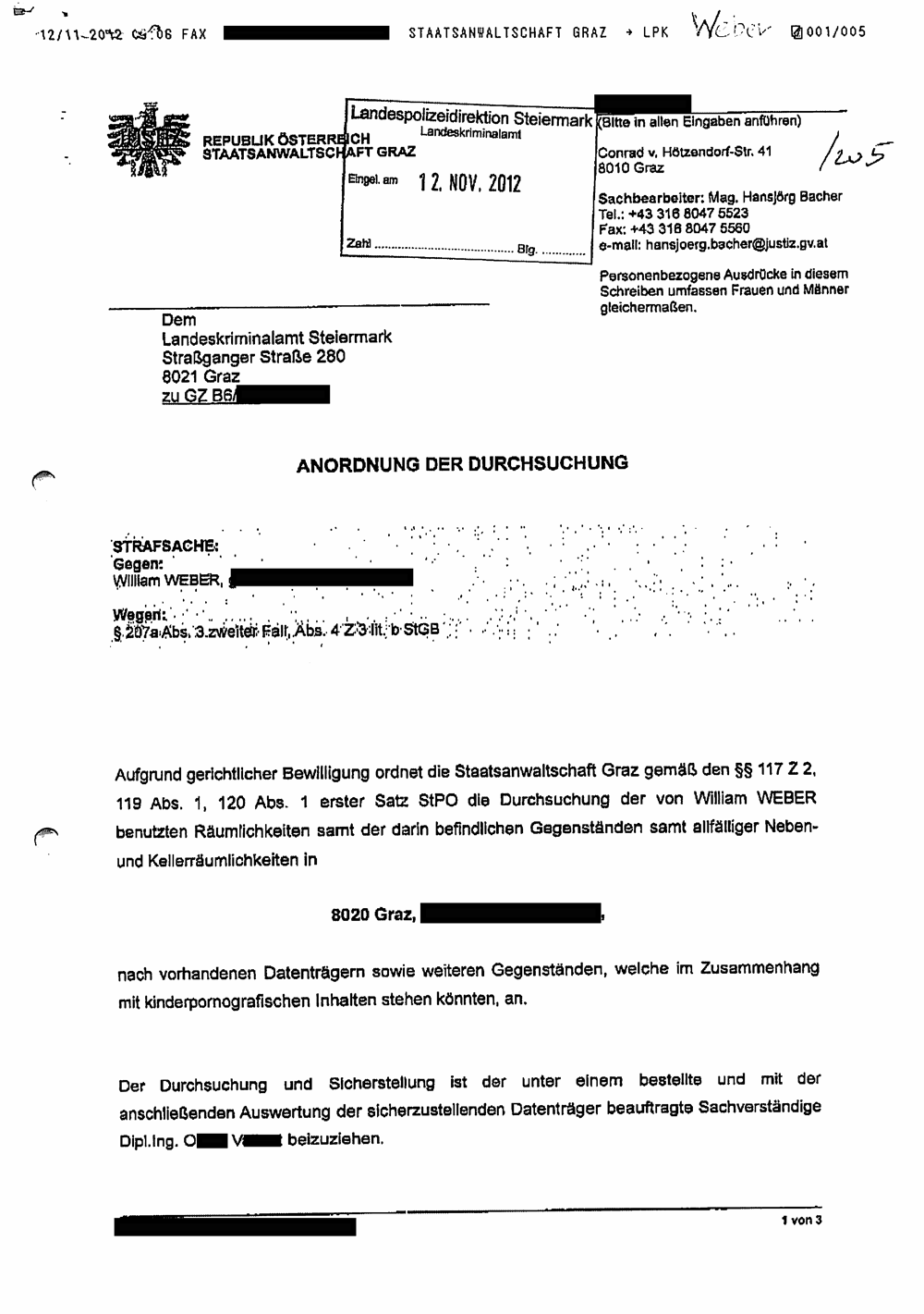 A court order served on Austrian Tor operator William Weber.