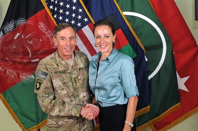 Gen. David Petraeus with his biographer and alleged mistress, Paula Broadwell.