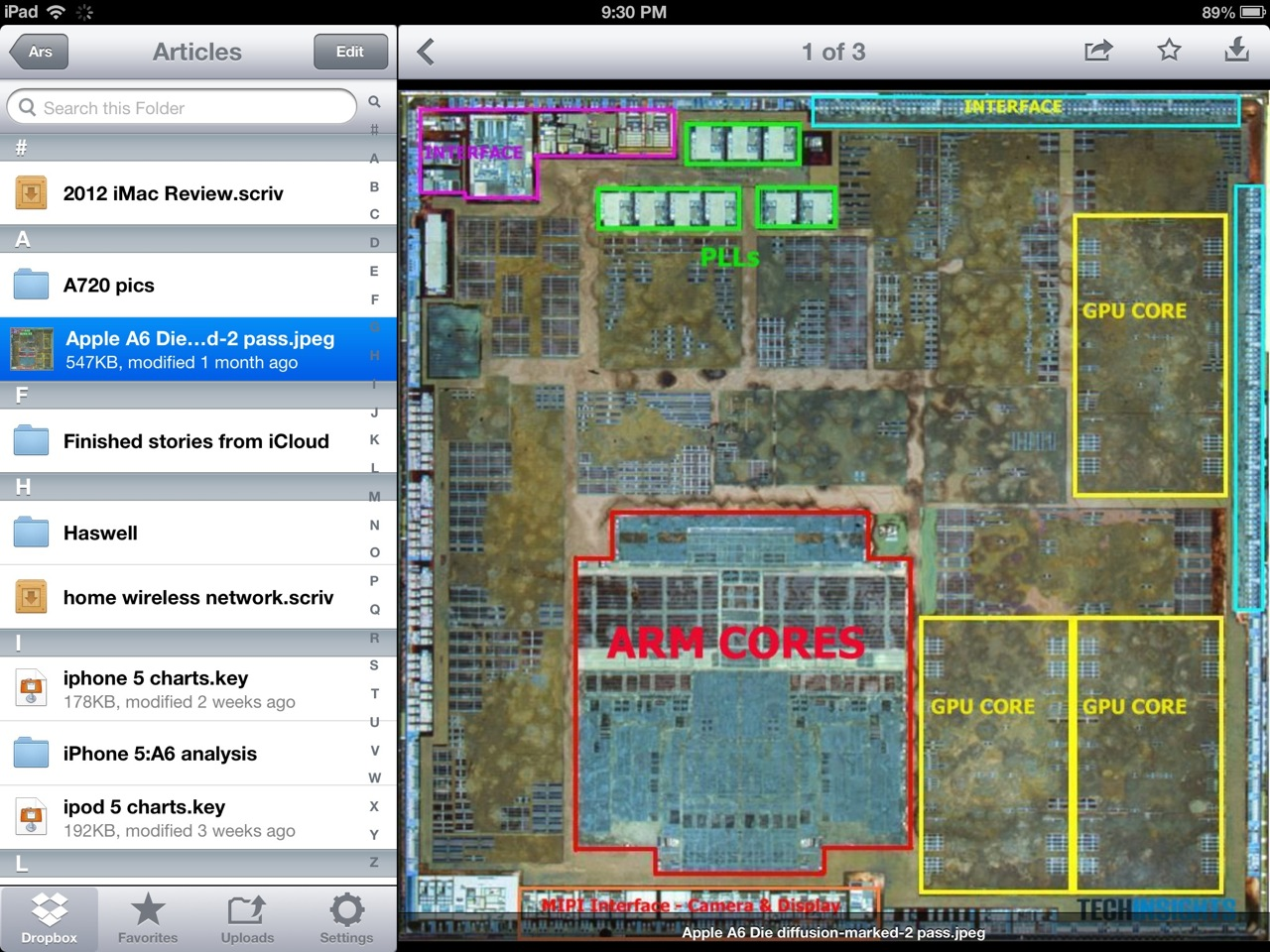 Dropbox for iOS uses multiple, independent panes to make better use of real estate.