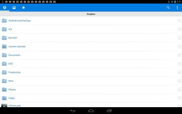 Dropbox for Android is fine on a phone, less so on a tablet.
