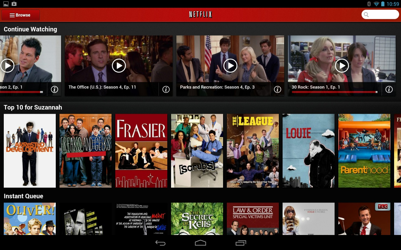 Both Netflix and Hulu make good use of a tablet's screen, and they are visually consistent across tablet platforms.