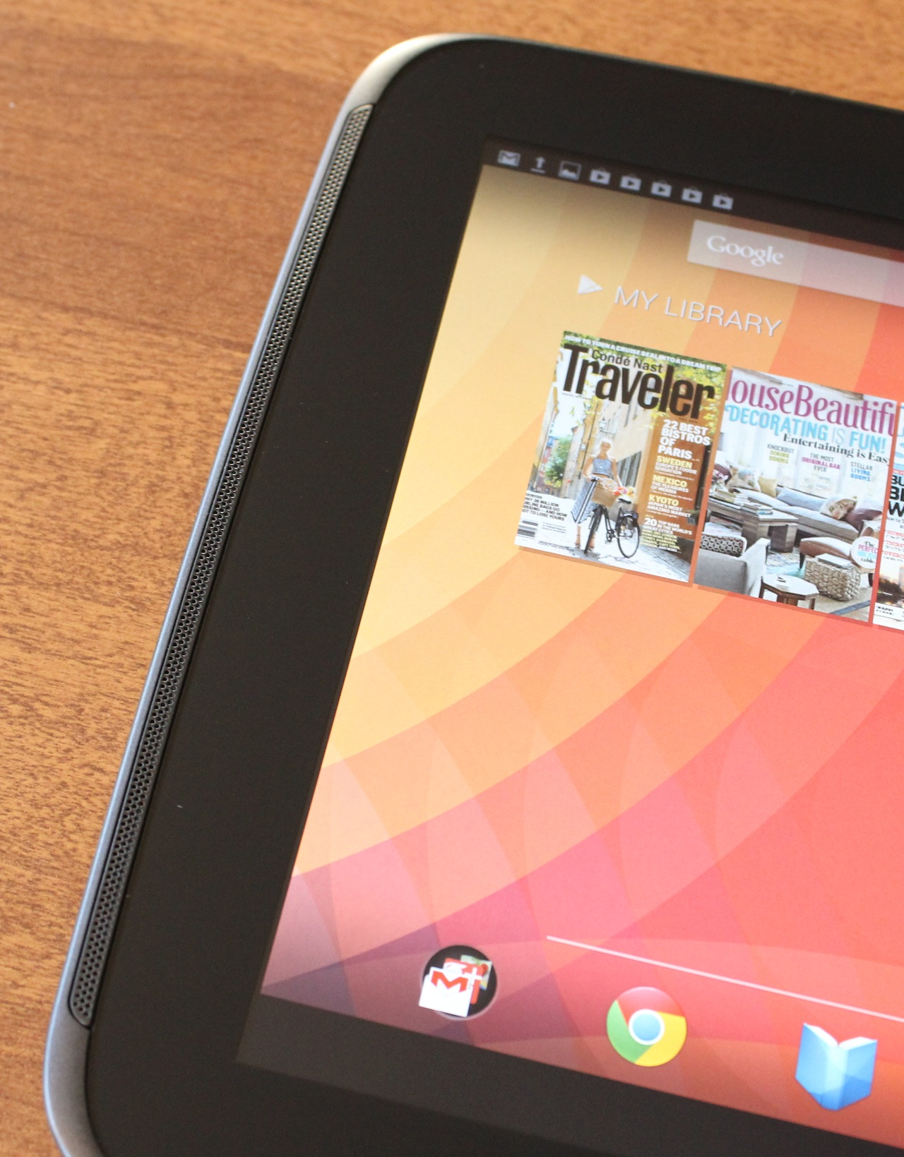 The tablet has two front-facing stereo speakers that run up and down the edges of the screen.
