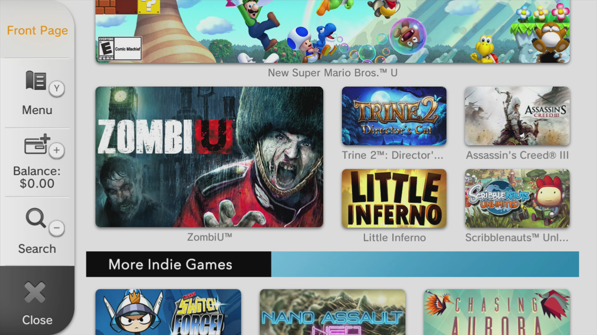 The Wii U eShop has an Indie Game section just below the fold, a nice bit of promotion for games that could really use it.