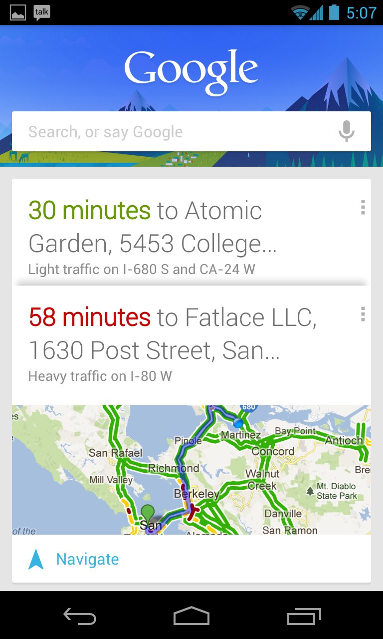 Google Now automatically pushed this data to the handset screen.