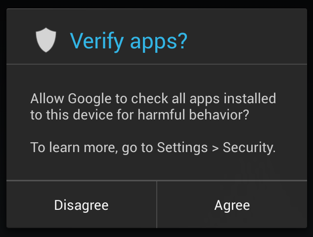 Users can set Android 4.2 to verify side-loaded apps before they're installed.