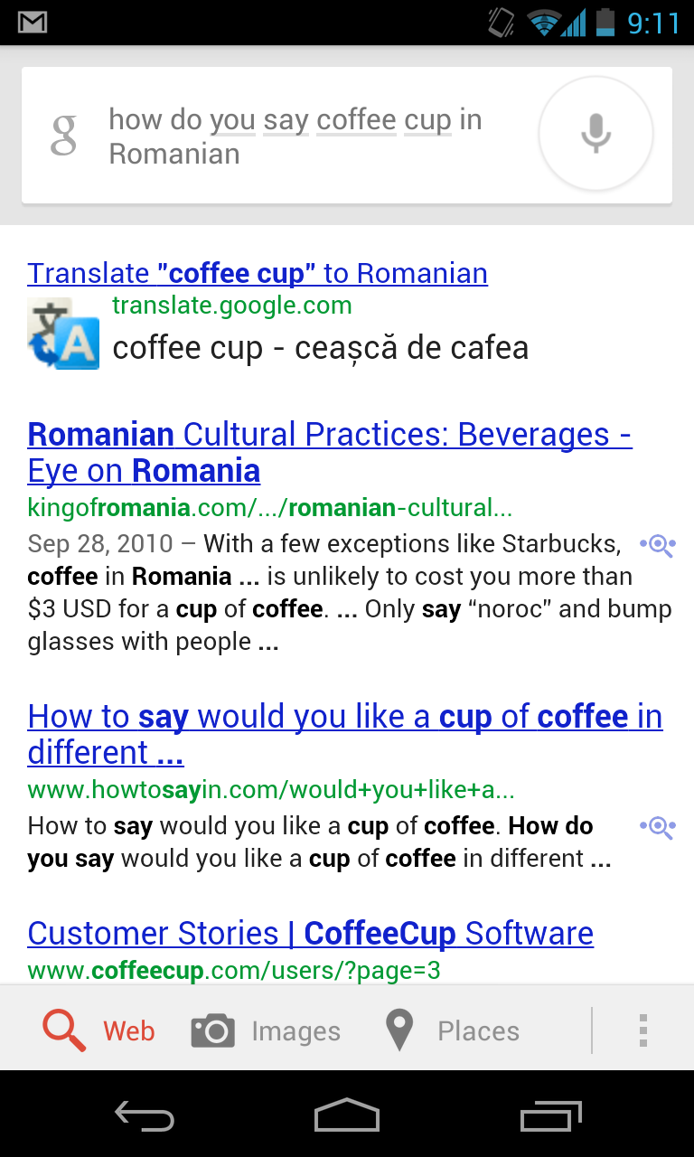 Google Now can help you with translating Romance languages.