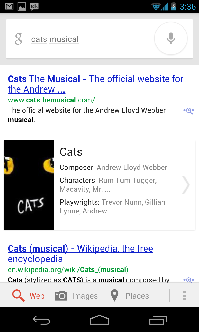 Google Now did a better job of searching for what I was seeking by its typical search term...