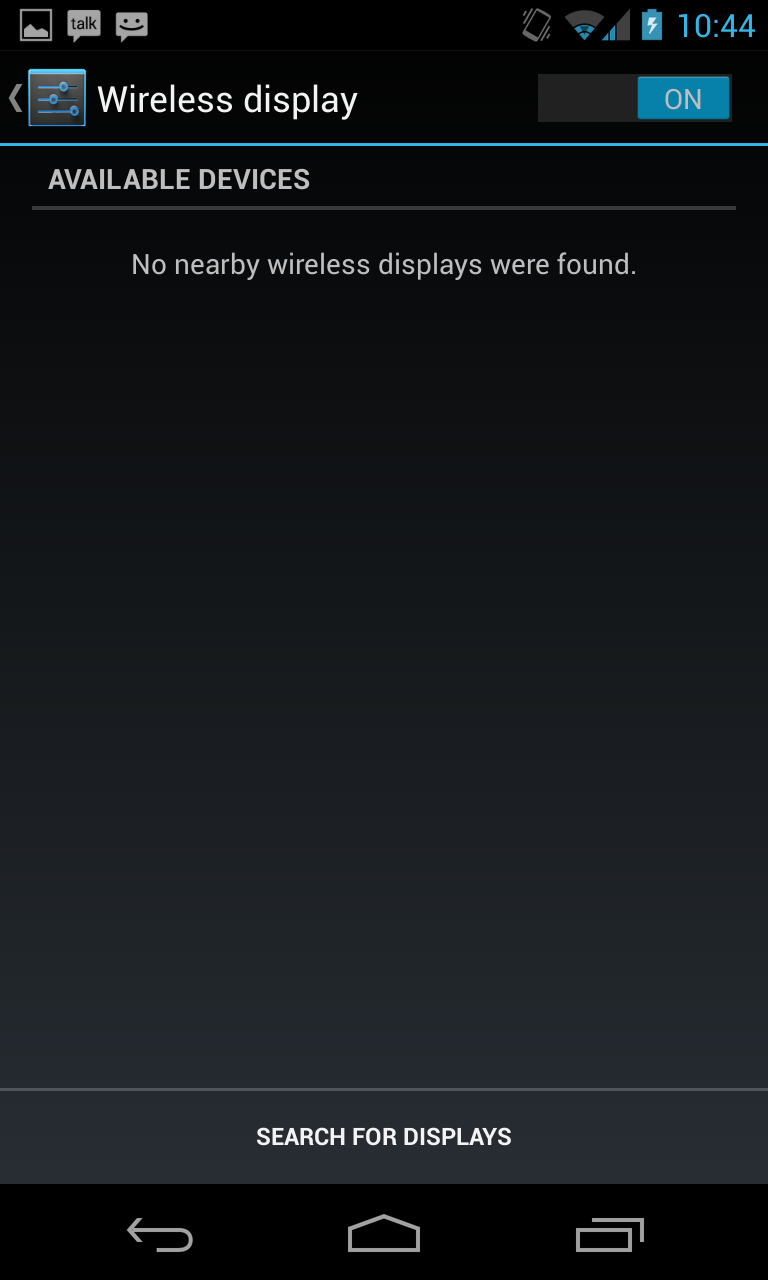 Miracast is buried in the Settings panel under Wireless display.