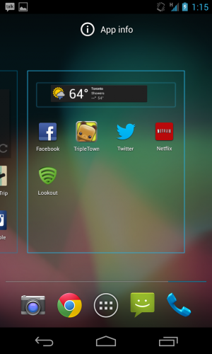 Drag a widget onto the screen and Android will move over app icons to accommodate.