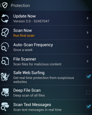 Just a sampling of the features that the AVG security app offers.