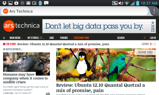 Firefox for Android on the newer Optimus G.