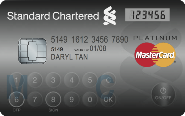 This credit card displays one-time passwords for extra security.