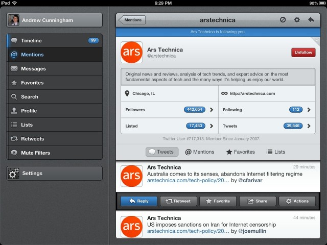 Tweetbot for iOS displays a lot of information in a way that is easy to understand.