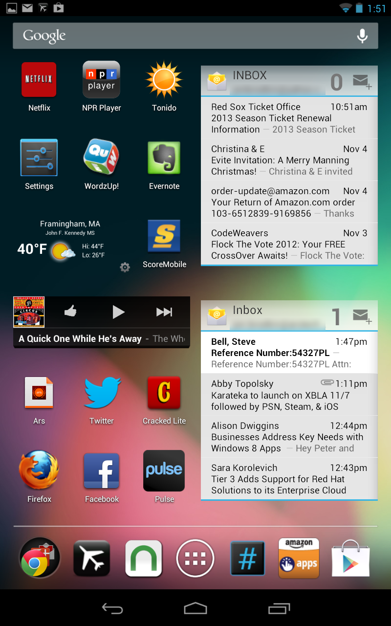 My Nexus 7's primary home screen, with widgets for e-mail, music, and weather.
