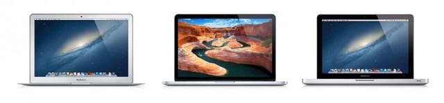 "From left to right: 13"" MacBook Air, 13"" Retina MacBook Pro, 13"" MacBook Pro."
