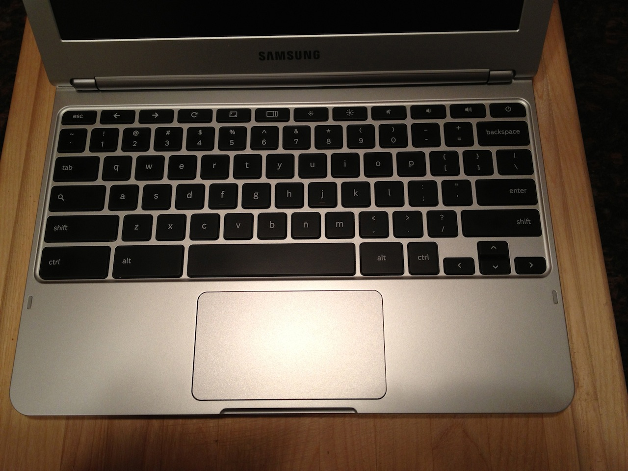The Chromebook's keyboard and trackpad.