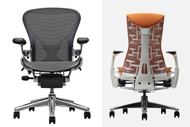 <strong>Left:</strong> Herman Miller Aeron. <strong>Right:</strong>Herman Miller Embody.