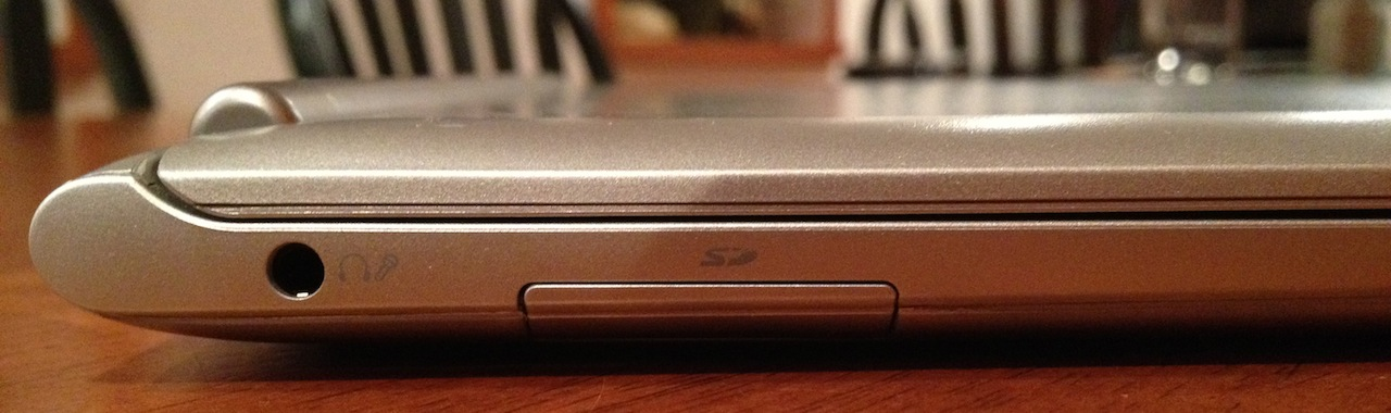 The Chromebook's SD card slot and headphone jack.