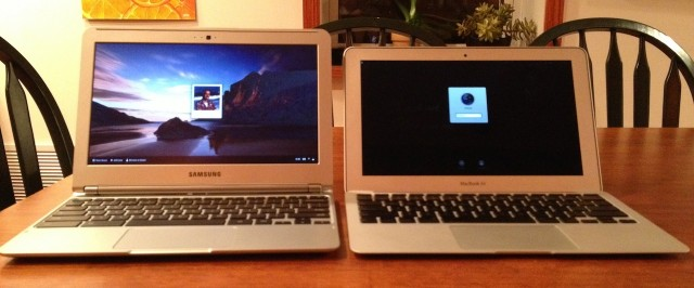 The new Chromebook bears a more-than-coincidental resemblance with the MacBook Air when opened up.