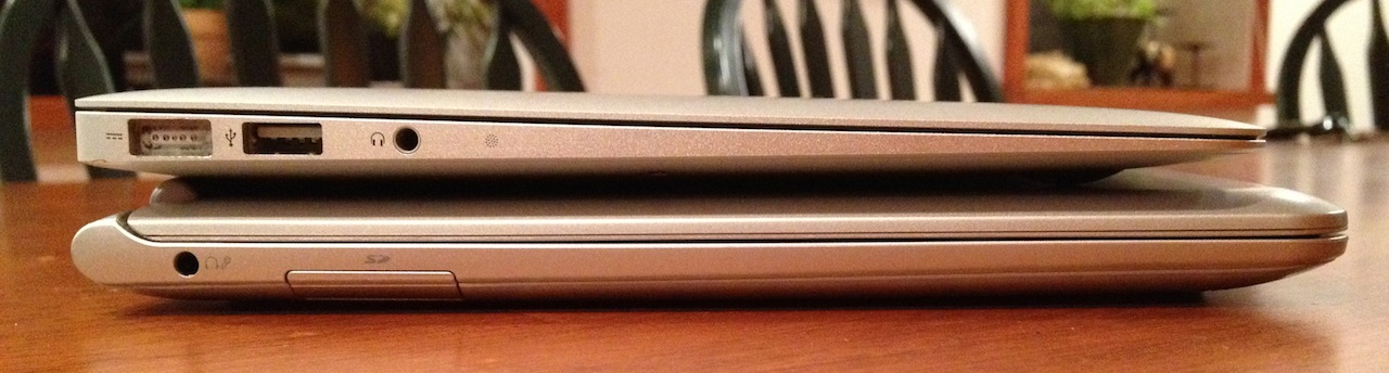 Compared to the MacBook Air in profile, however, it's considerably chunkier.