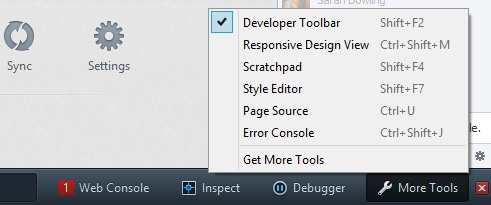 The Developer Toolbar and a few of the other Firefox developer tools offer increased visibility for some of their features.