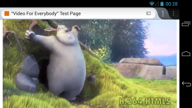 H.264 Big Buck Bunny in Firefox on Android 4.2.1.