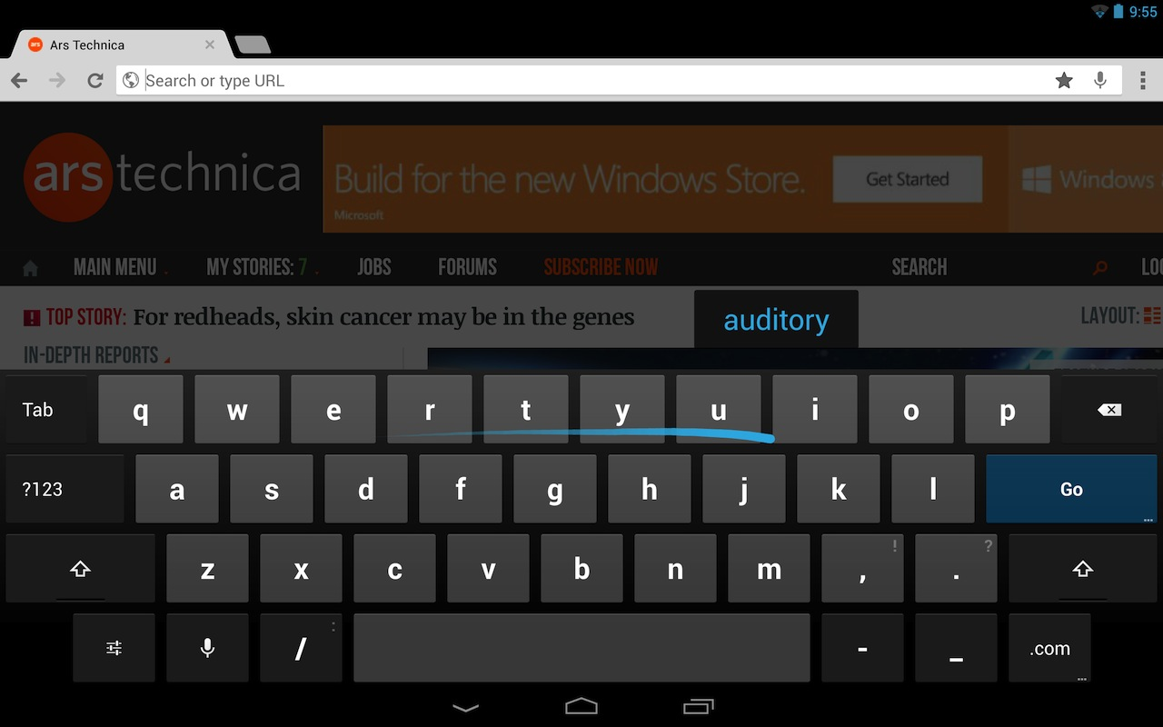 Drag your finger around on the keyboard, and Android 4.2 will guess the word you're typing with a fair degree of accuracy.