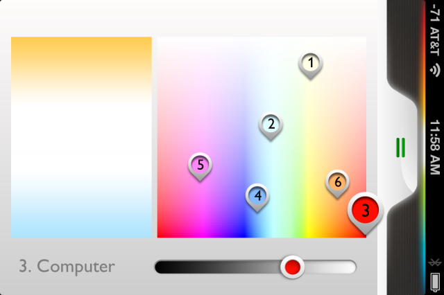 Customizing the color of each bulb.