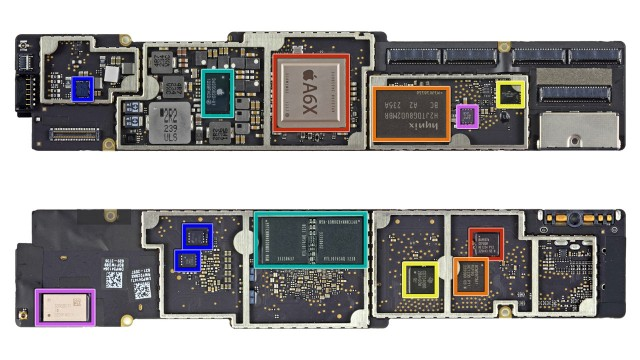 Above: the top of the iPad 4 logic board, with its Apple-designed A6X processor. Below: the bottom features 1GB of RAM, along with power mangement and support chips.