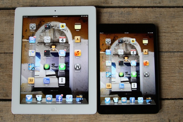 Full-size iPad on the left, iPad mini on the right.