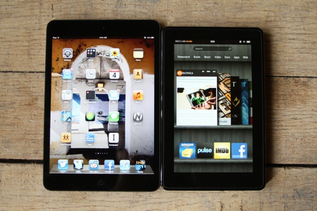 iPad mini on the left, Kindle Fire on the right.