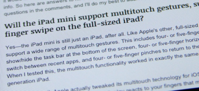 Text up close on the iPad mini.