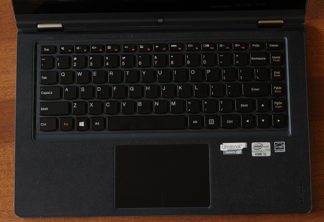 The Yoga's keyboard and multitouch trackpad.