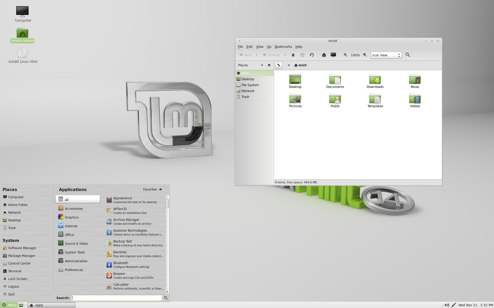 Linux Mint's MATE shell.