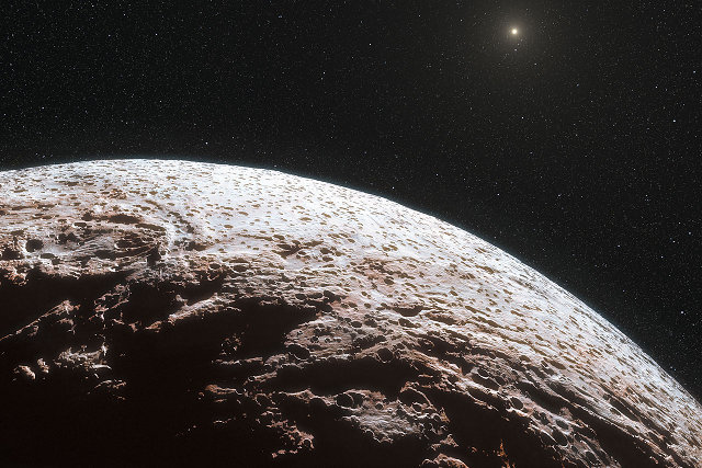 Artist's impression of Makemake, a dwarf planet roughly 2/3 the diameter of Pluto.