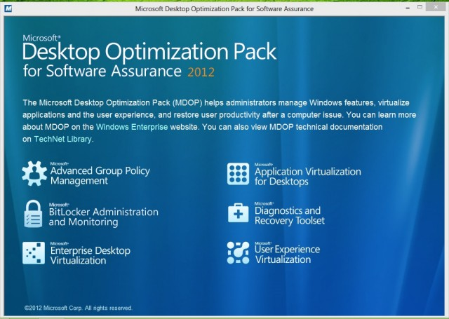 Microsoft Desktop Optimization Pack adds some new tools for Windows 8, and spruces up some others—but not all of them work with Microsoft's new OS.
