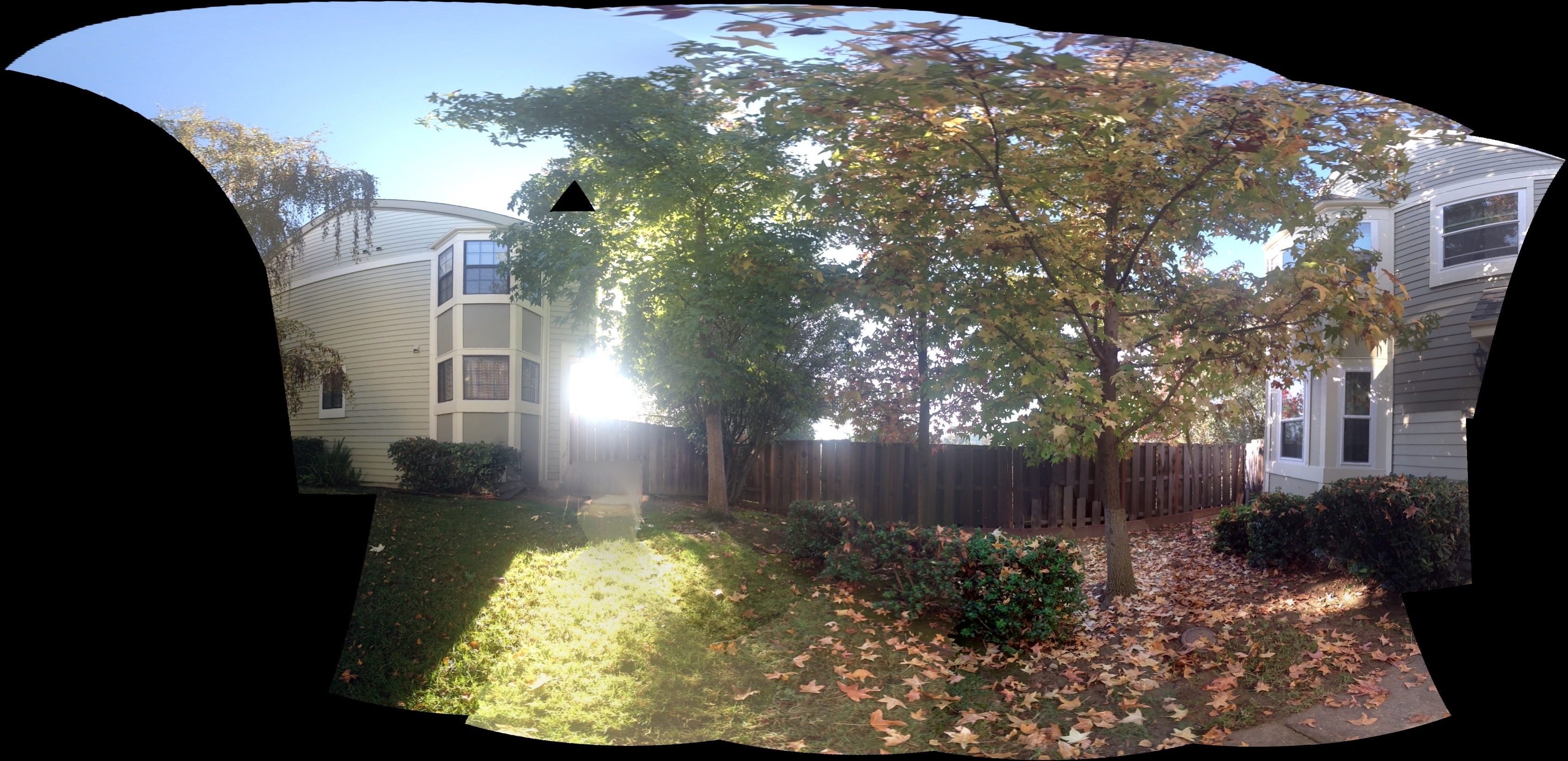 Microsoft's Photosynth app (seen here, though the photo was taken with an iPhone 4S) stitches together the photos in a semi-circular manner.