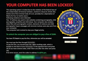 A typical message displayed on a computer infected by ransomware.