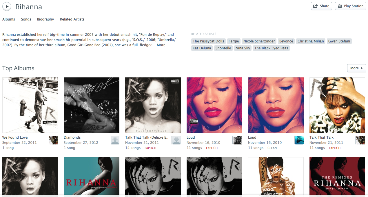 Rdio's artist pages favors album displays, better for cohesive musical acts than one- (or several-) hit wonders.