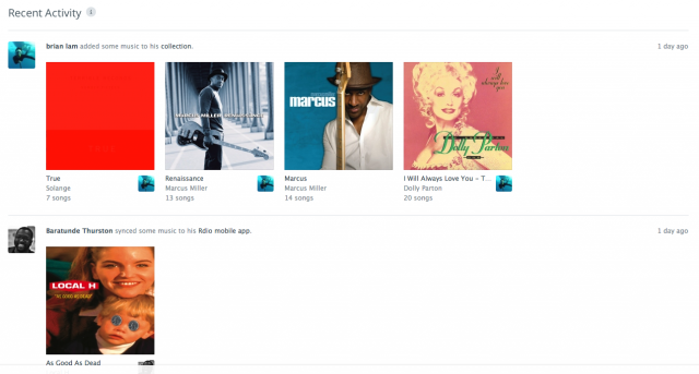 A user's recent activity on Rdio.