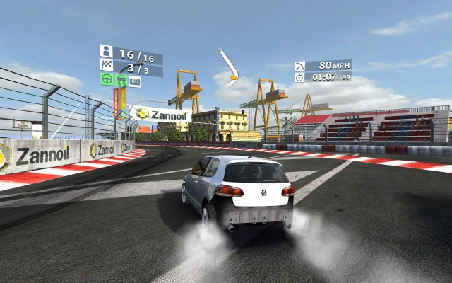 I didn't do too hot in the race, but my 3D-rendered VW Golf looked pretty good—sans rear bumper—squealing tires around the corners in <em>Real Racing 2</em>.