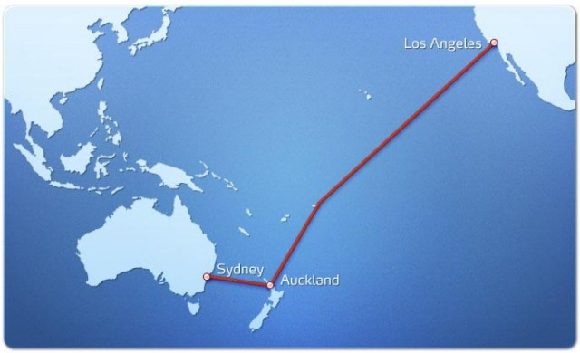 The route of the proposed trans-Pacific fiber link.