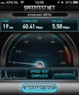 iPhone 5 Speedtest results at 5GHz