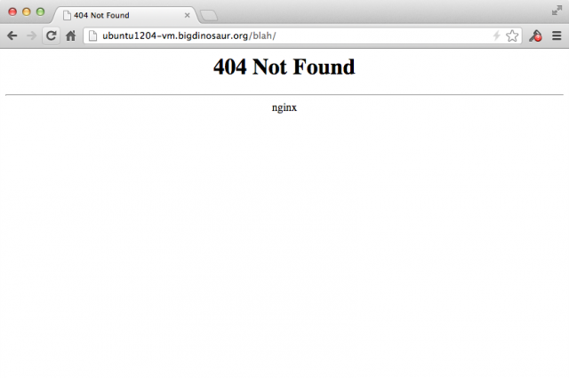 The same 404 page as before, but without the server version number displayed.