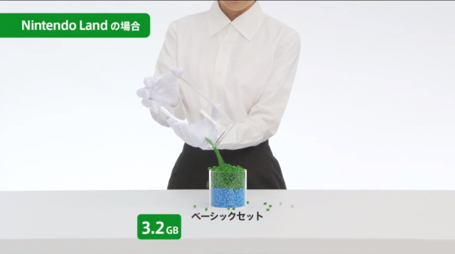 A white-gloved attendant shows how the 3.2GB <i>NintendoLand</i> will actually overflow the 8GB storage space on the Basic Wii U, thanks to other built-in data requirements.