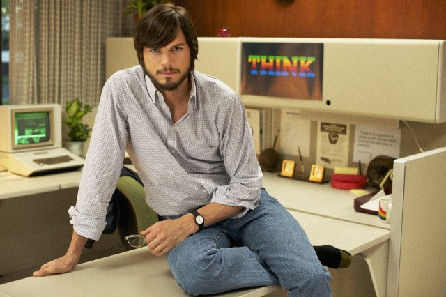 Ashton Kutcher in the upcoming biopic <em>jOBS</em>.