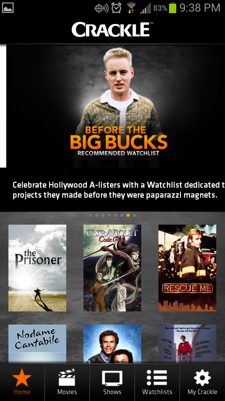 Crackle, on the other hand, may have a less-than-stellar offering of content, but it won't cost you a cent!