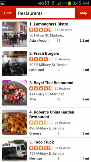 "Hit ""Nearby"" on the Yelp app and it will help you find the nearest places to eat."