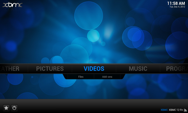 XBMC on Android with its default skin.